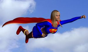 Supergirl off the ground by qaz-art