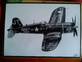 Vought F-4U1 Corsair drawing by alainmi