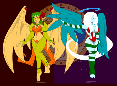 Holiday Deities Pumpump and Holli by Dragon-FangX
