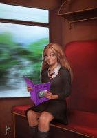 Luna on the train by JuneJenssen