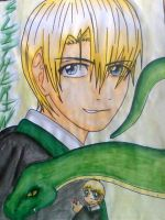 Draco Malfoy in watercolour by Snappedragon
