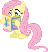 Fluttershy Reading a Book Vector by TheSketchyPony