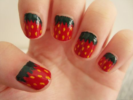 Strawberry Nails by luminousleopard