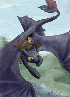 Hiccup and Toothless by Etherstar