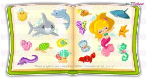 Sea Creatures Stickers (work) by Cukismo