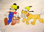 Mickey and Pluto by JesusFreak-4Ever