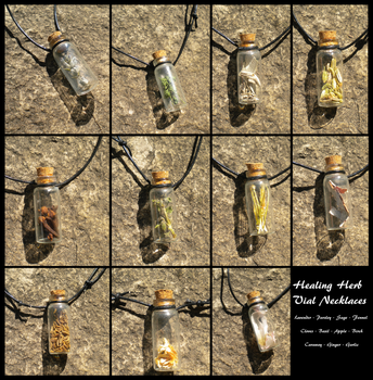 Healing Herb Vial Necklaces by UrnesAshTree