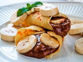 Banana butter filled crepes by Apeanutbutterfiend