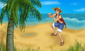 Luffy on an Island by SharmClucas