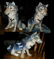 WIP~painting papier mache clay wolf by Shadowind