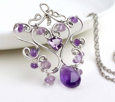 Sterling silver wire wrapped amethyst necklace by CreativityJewellery