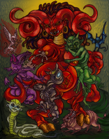 demon mama and her babies by quietsecrets