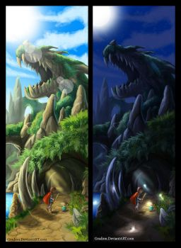 Dragon Nest Cave -day and night ver.- by Fragments-of-Hearts
