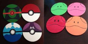 Pokeball and Haro Coasters by MapleRose