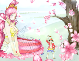 Cherry blossoms and One Piece by CallineXoP