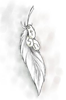 Feather and runes by Psee
