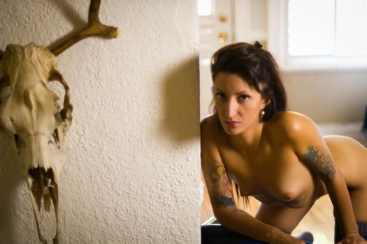 Intense Nude with a Skull by LilyanneBloom