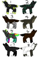 8 Wolf Adoptables by Charmmer