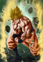 Goku goes ssj for the first time by francosj12
