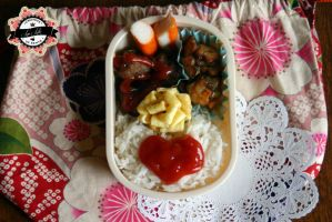 Heart and flowers in my bento by RiYuPai