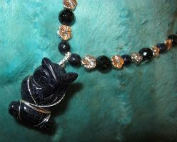 Blue Goldstone Owl Necklace Closeup 2a by Windthin