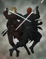 Commission:Anakin vs Maul by doubleleaf
