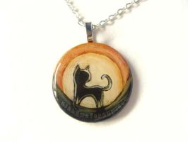 Sun Black Cat - Pendant Necklace by sobeyondthis