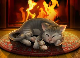 Fireplace catnap by clefchan