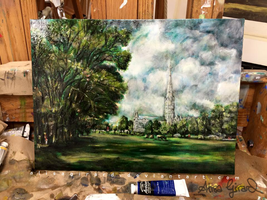Castle and the Trees: Oil Master Copy by OdieFarber