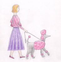 Woman with dog by Cunami-in-october