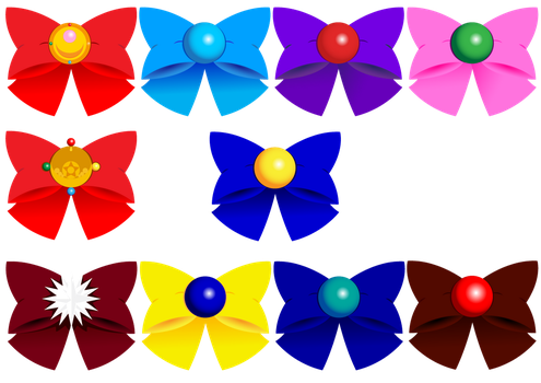 Sailor Guardians Bows n' Brooches by DrawDesign