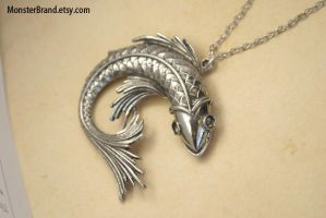 Large Silver Fish Necklace by foowahu-etsy