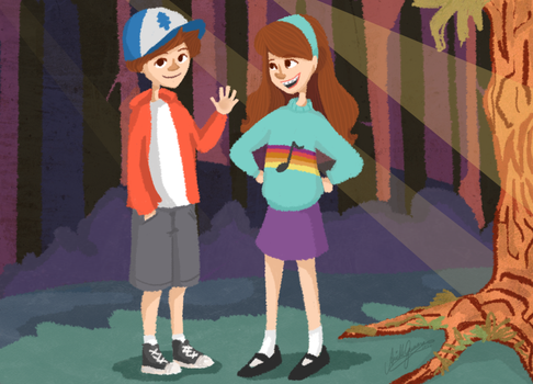 Dipper and Mabel by GabSlyth