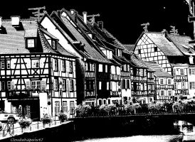 Some Half-timbered Houses... - Indian Ink Style by Cloudwhisperer67