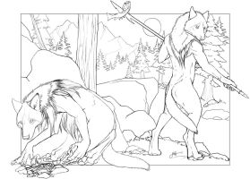 Werewolves - Line Art by Mist-Howler