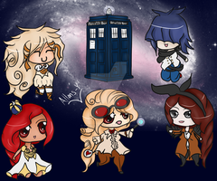 Miss Doctor and her Companions [Colored] by MissGallifrey