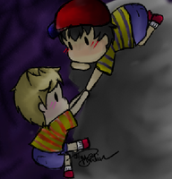 Chibi Ness and Lucas by OptimusPrimeMyridian