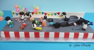 Timmys Track Turmoil Cake by ginas-cakes