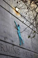 dancer on concrete facade by GrinningPhD