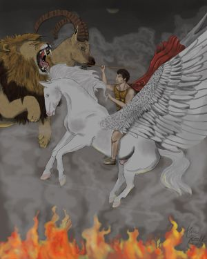 Man and Pegasus Versus the Chimera