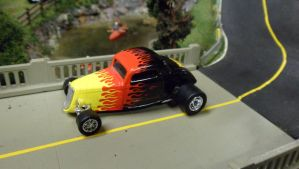 '34 Ford Hi-Boy Coupe with Crazy Flames by hankypanky68