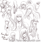 Erza Scarlet Sketch dumps (VERY OLD) by Hono-Atomi
