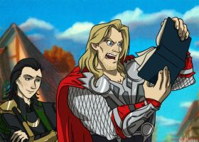 Thor reads... by Nina-Serena
