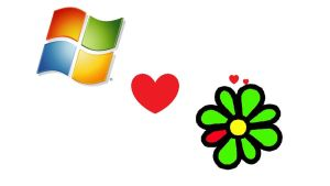 Windows vs. ICQ Flowers Love by dylanman10