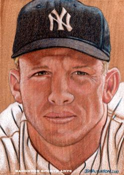 5 x 7 Mickey Mantle Artwork (Mixed Media) by Brent-Naughton-17