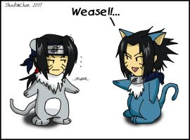 Weasel N Stupid I mean Sasuke by xPixieSoulx