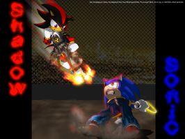 Sonic-vs-Shadow wallpaper by Foxxie-Angel