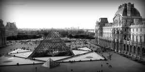 BnW Le Louvre Pyramids: Pharaohs Visiting Paris by Cloudwhisperer67