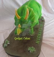 Triceratops Cake structured 3D dinosaur by gadgetcakes