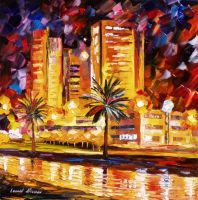 Tropical City by Leonid Afremov by Leonidafremov